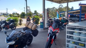 Our first fuel up at Kyogle and meeting the first bunch of riders along the way.