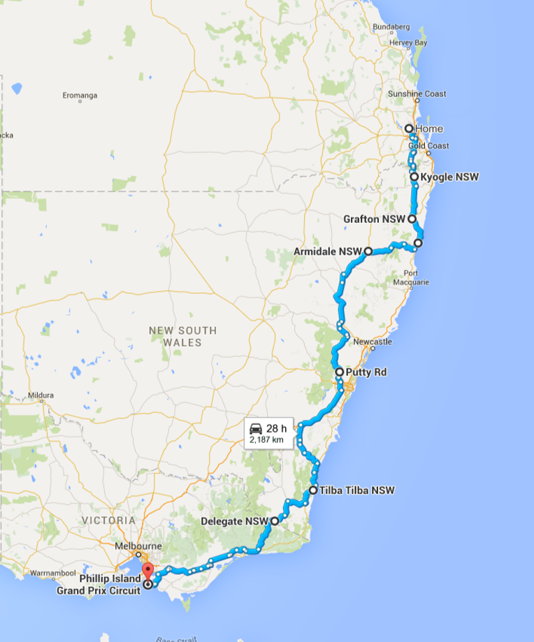 This was roughly the route we planned. (there would be some slight changes along the way). On day 1, instead of heading to Coffs Harbour we went through Nymboida and Ebor.